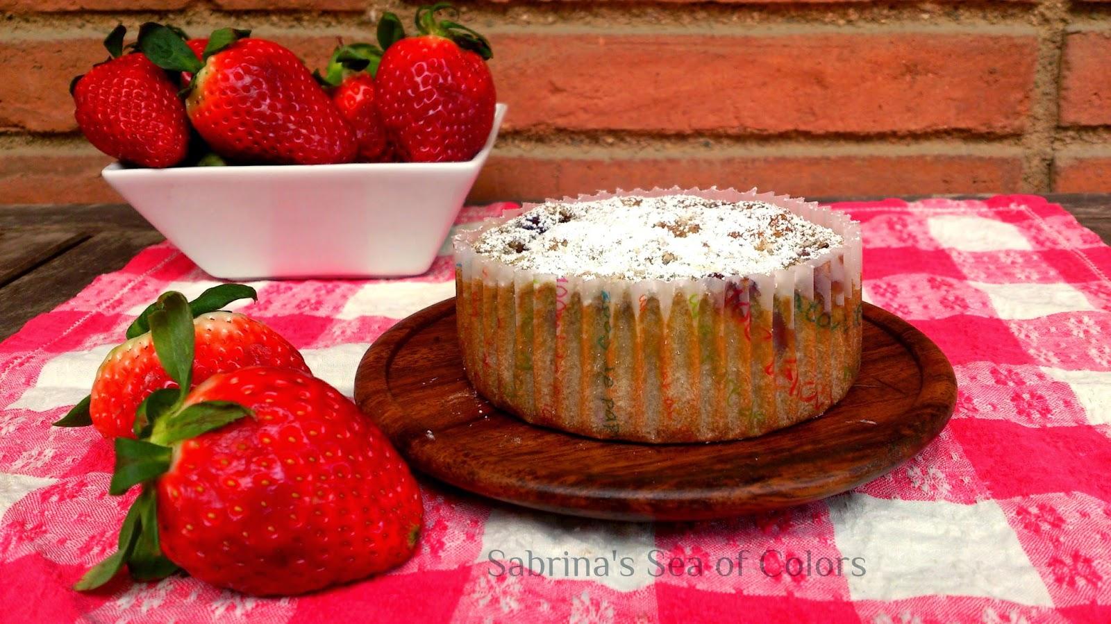 Muffin de fresas al vino tinto