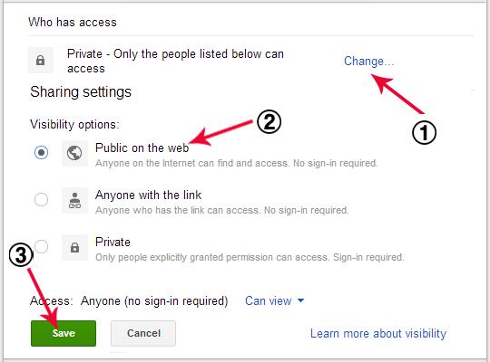 hosting di google drive
