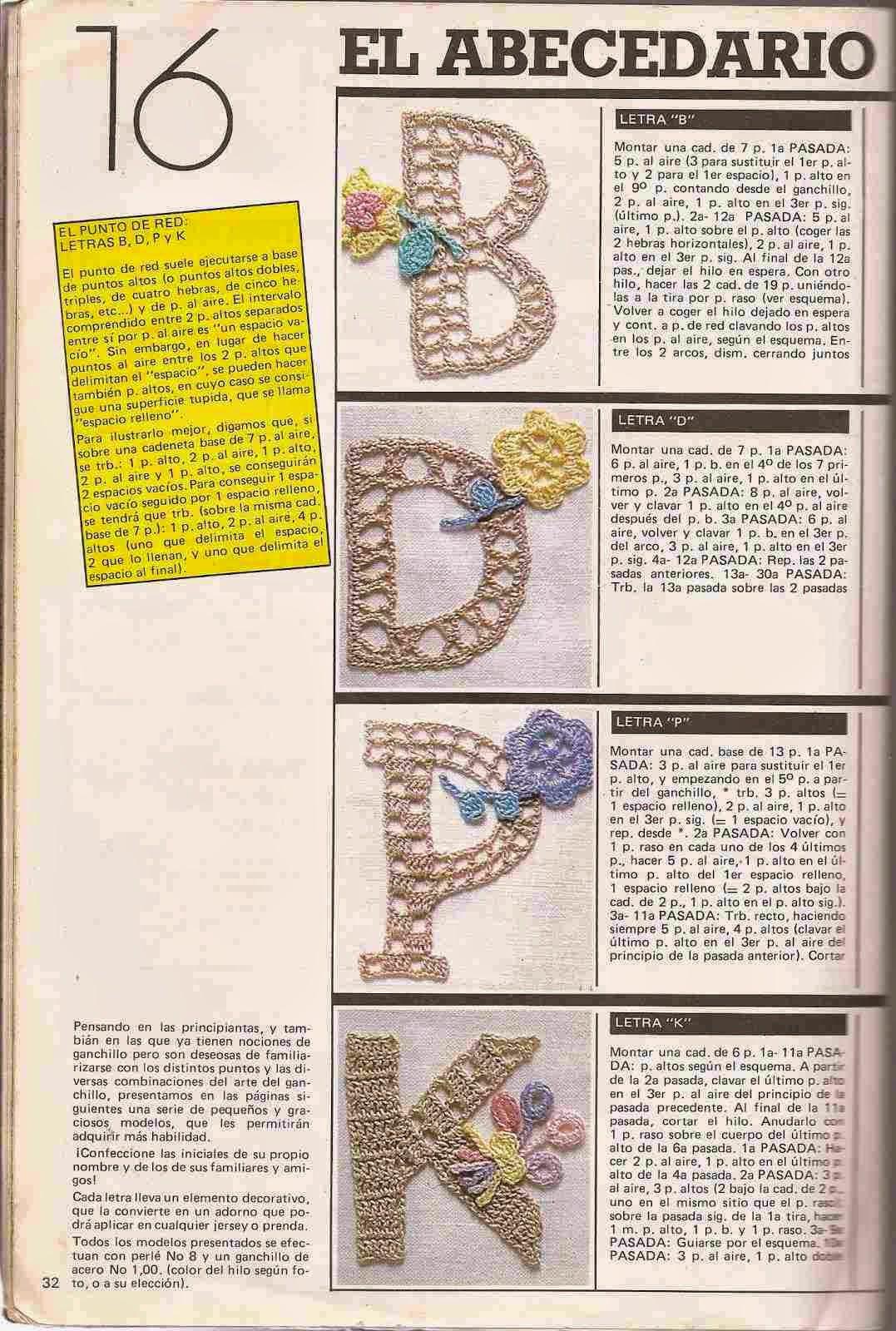 Instrucciones para letras a crochet