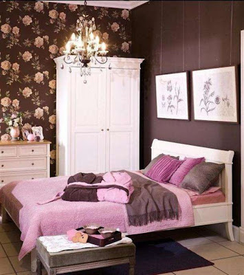 quarto adolescente rosa e marrom