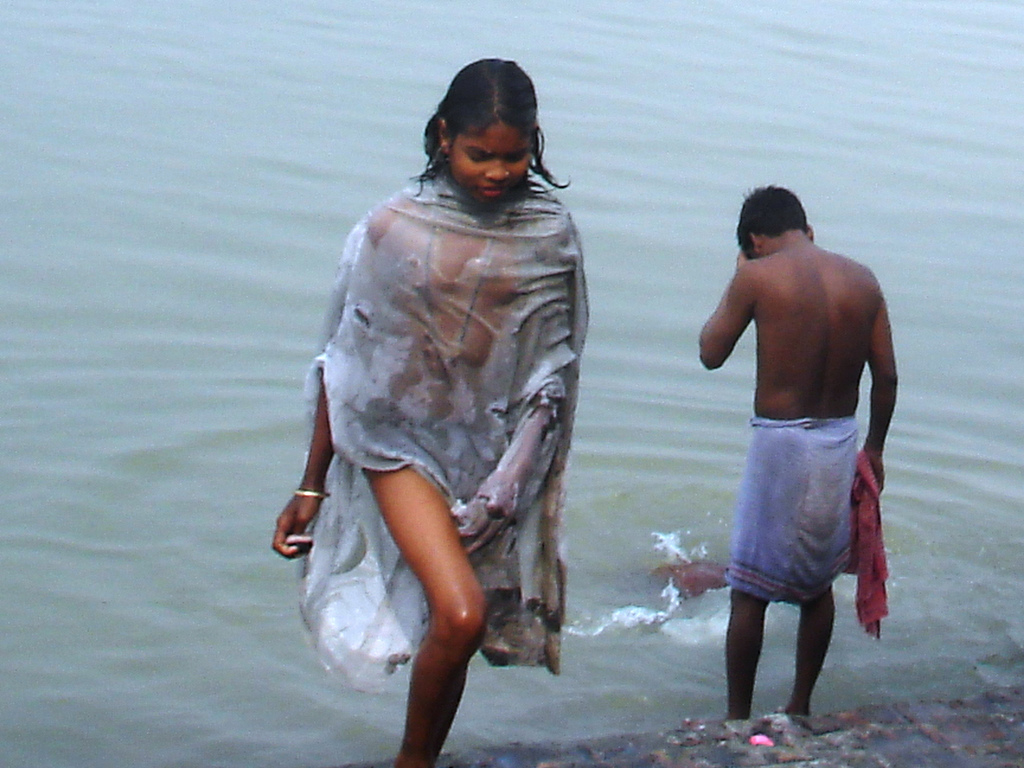 River bathing indian girls