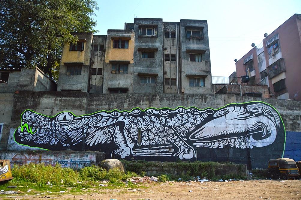 Pune Street Art Project Mural Kasba Peth Crocodile Amitabh Kumar