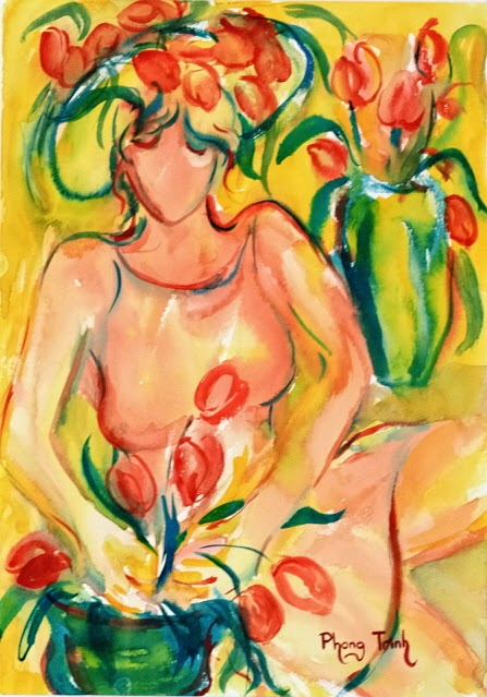 Spectacular Watercolor Painting Figure and Summer flowers, 29.5x42cm