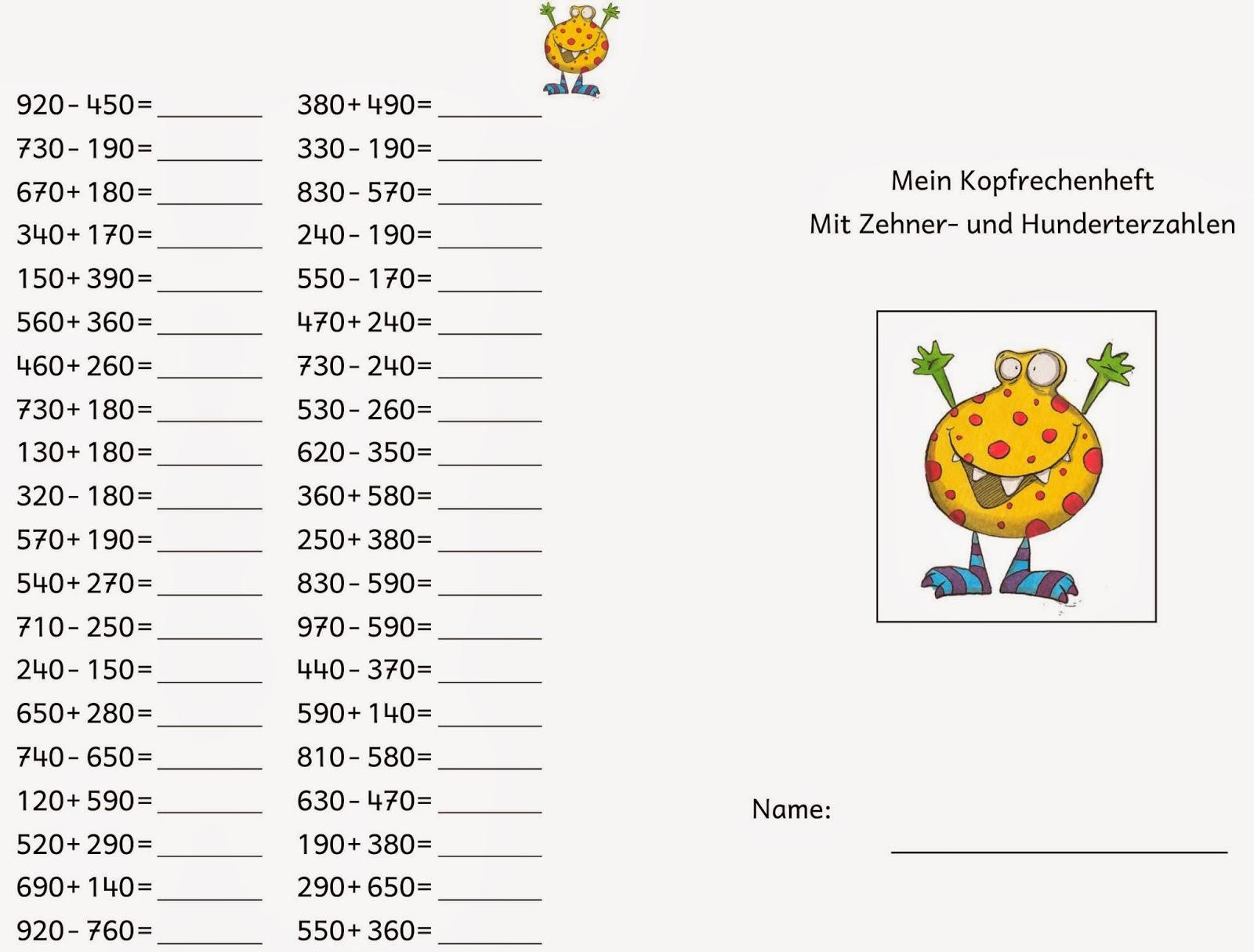 Lernstu00fcbchen: Kopfrechnen (2)