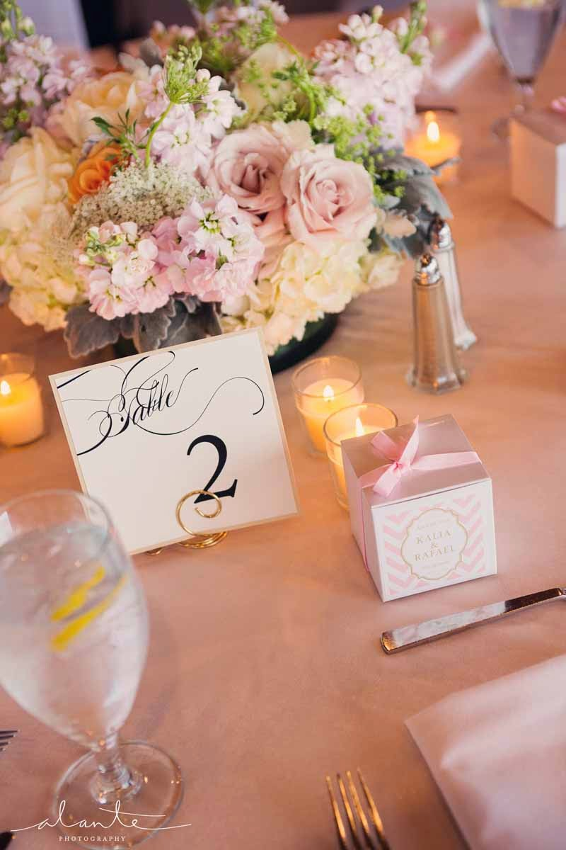 low table centerpiece with blush flowers