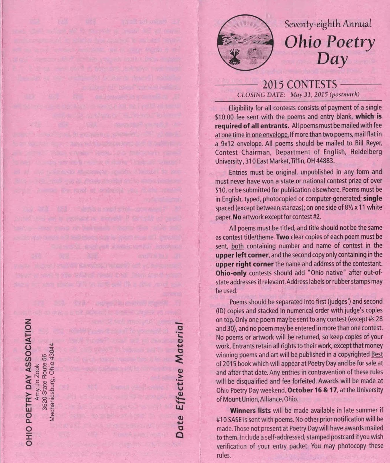 first page of flyer for Ohio poetry day contests