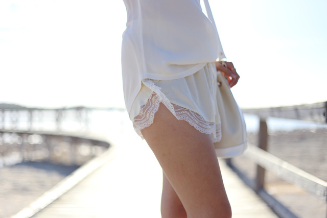 Lover The Label silk lace trim shorts in Ivory.
