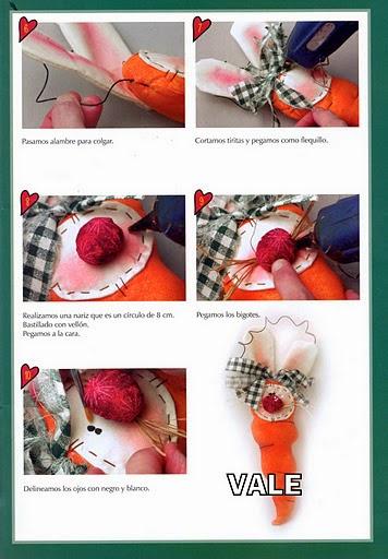 Coelhinho e cenoura de tecido com moldes