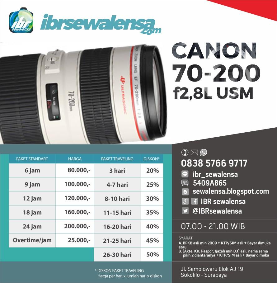 Canon 70-200 mm F2.8 L USM Harga Sewa Rental Lensa Kamera