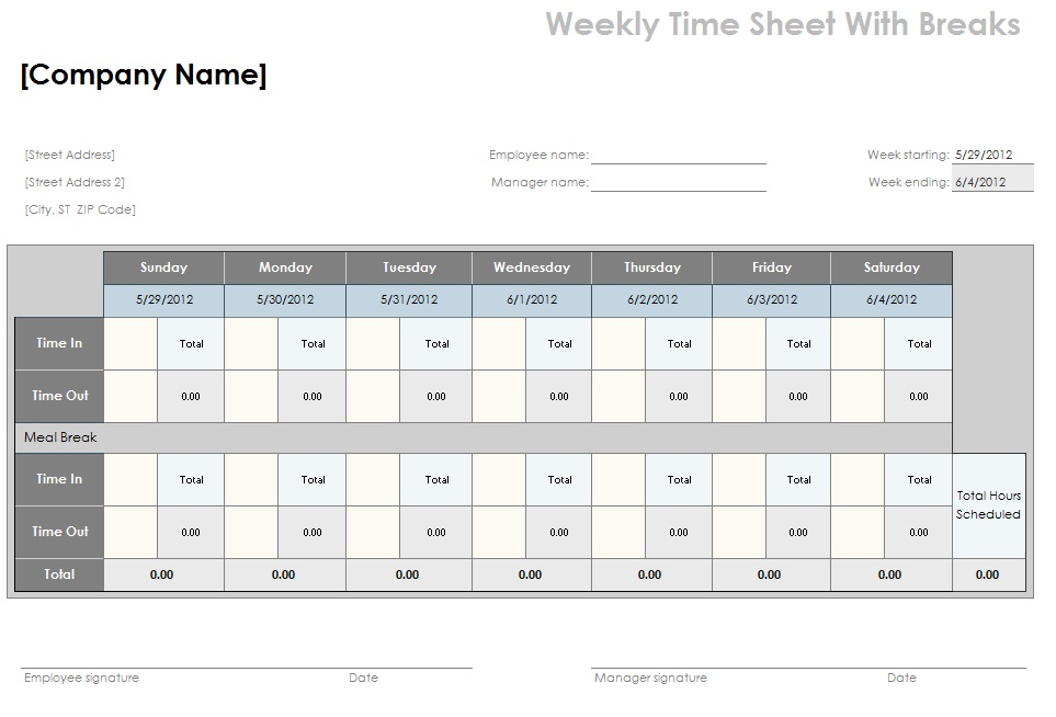 break and lunch schedule template