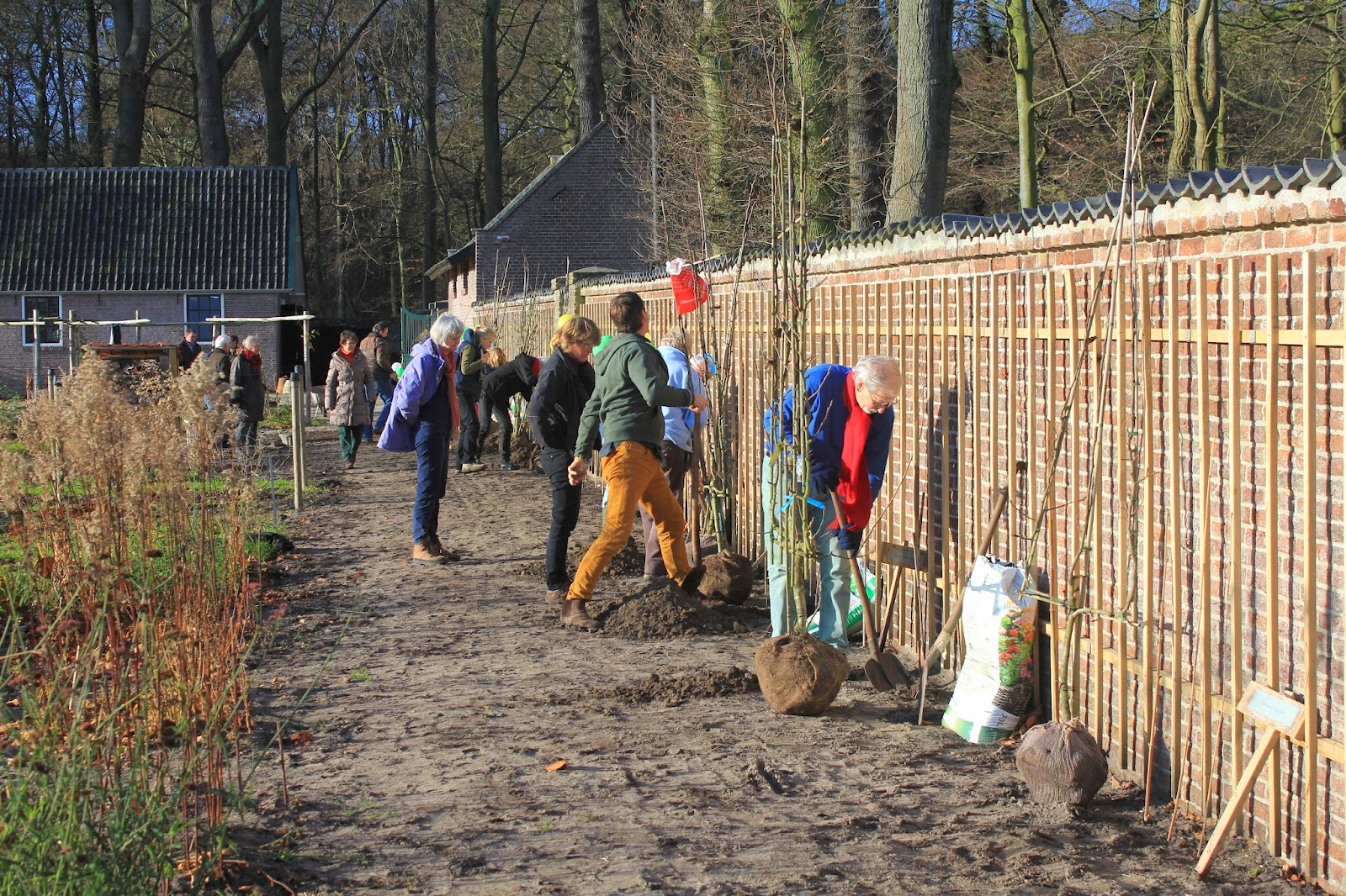 tuinmuur rechte fruitmuur Landgoed Leyduin in Vogelenzang