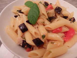 Swordfish and eggplant pasta
