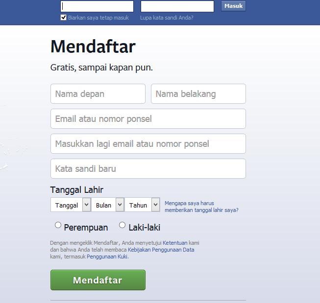 Cara Membuat akun Facebook, Form pembuatan facebook