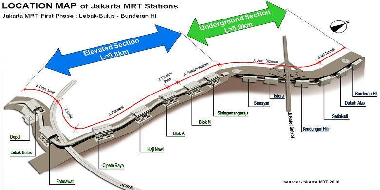 Daftar Stasiun & Peta Rute Jalur MRT Jakarta