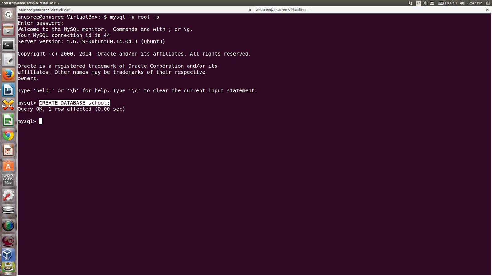 how to create table in mysql in ubuntu