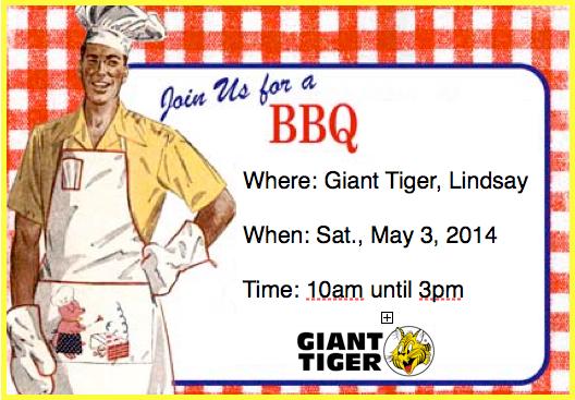 May 3 2014 BBQ poster supporting Humane Society of Kawartha Lakes at Giant Tiger