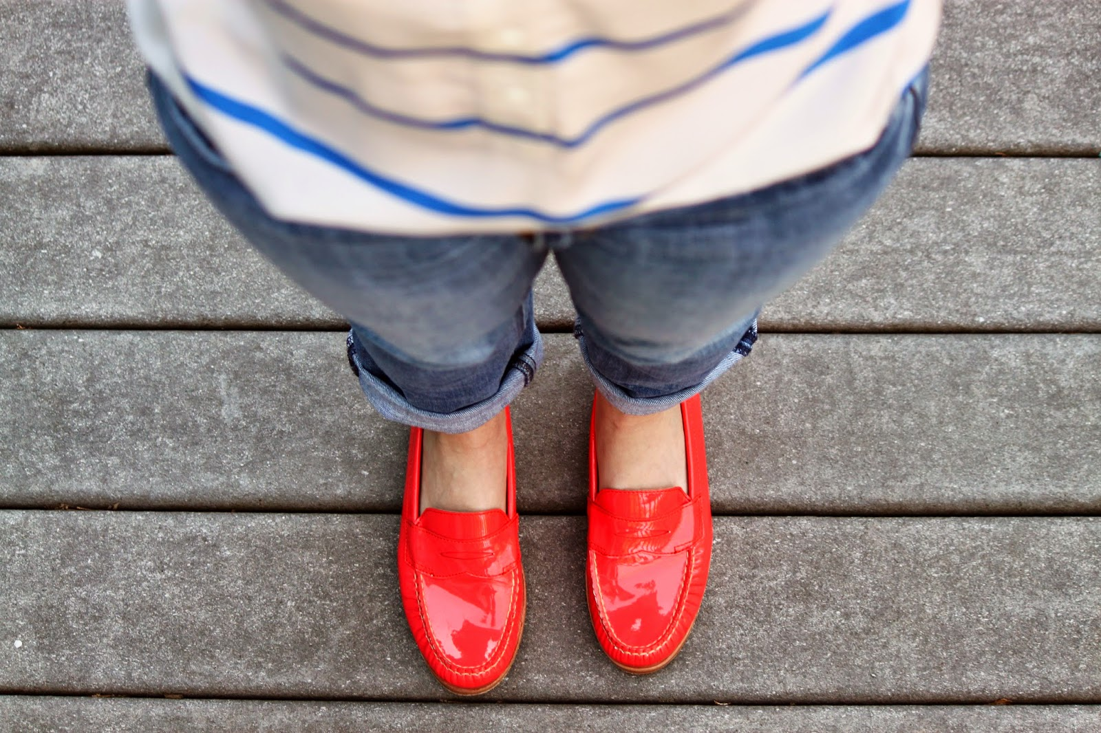 Coral + Cobalt Blue Stripes (#JCrew #EastlandShoe) // The Salty Hanger