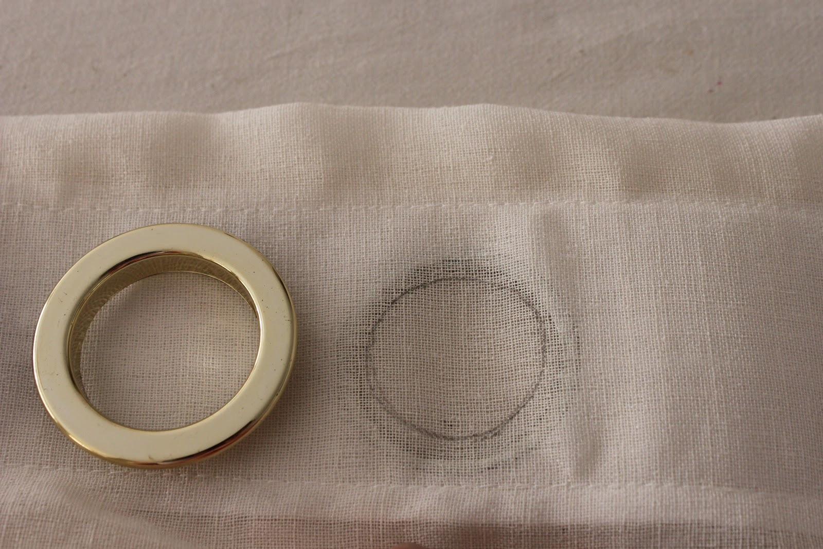 Curtain eyelet rings - I Was Worried About Fraying So I Went Around The Circle Lightly With A Glue Stick