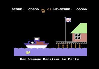 Captura de pantalla Monty On the Run, final. Nuestro topo toma la embarcación a Francia