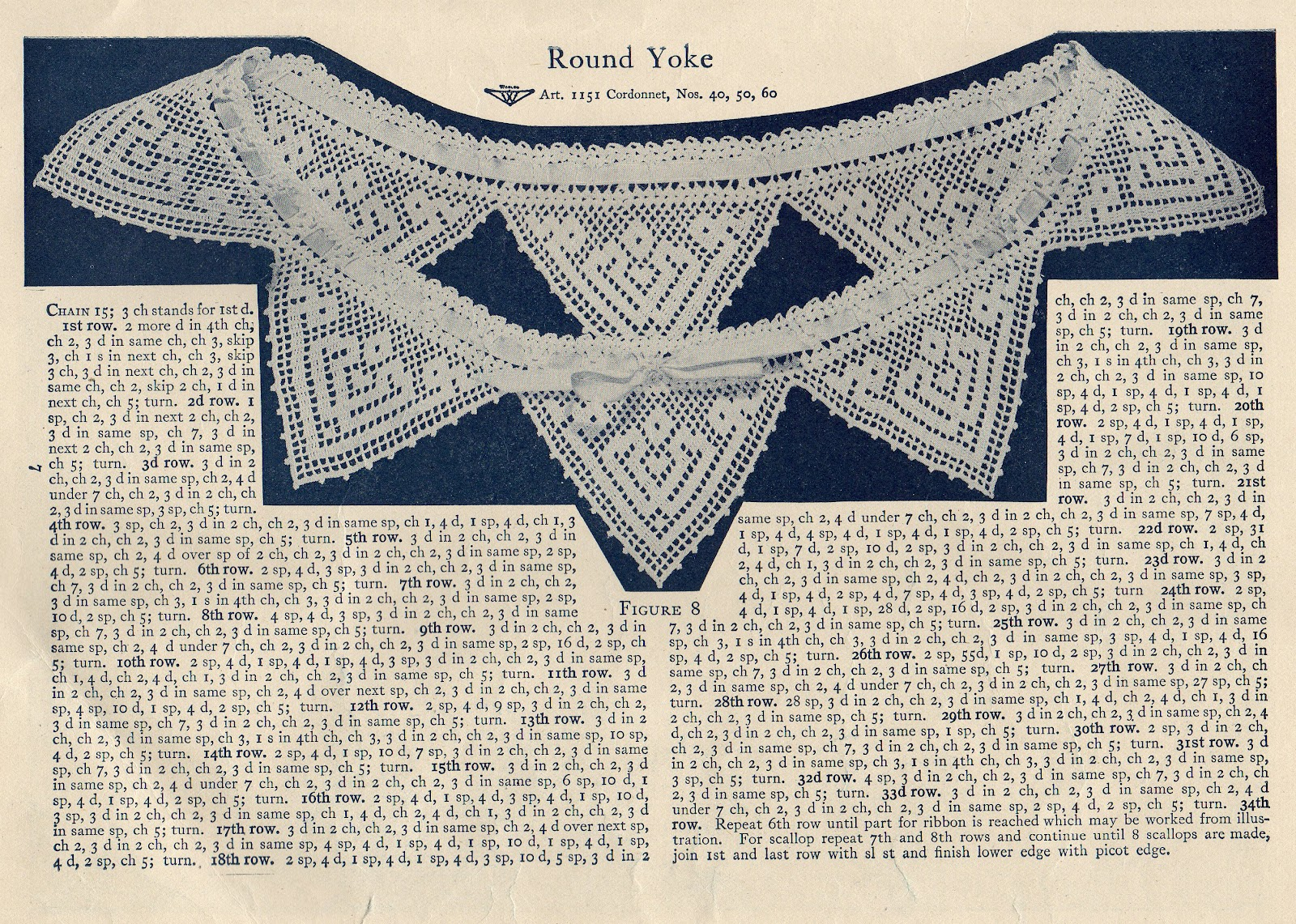 Free Vintage Crochet Yoke Patterns : Leaping Frog Designs: Free Vintage Patterns Crochet Round Yoke