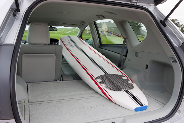Tailgate open and seats folded on 2013 Toyota Prius V