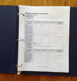 organizing the common core in a binder