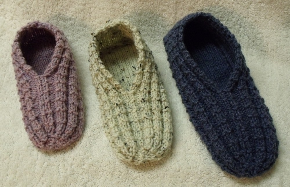 Knit Slippers Pattern : KweenBee and Me: How to Knit a Pair of Slippers