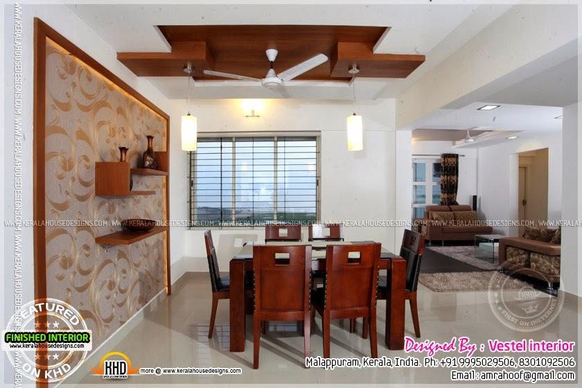 Finished interior designs in kerala kerala home design for Dining room designs kerala