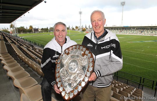 L-R: Mike Bishop CEO, Brendan Mahony, chairman, Hawke's Bay Rugby Union, HBRU, pictured with the Ranfurly Shield at McLean Park, Napier - hoping for a full park on Saturday for the Bay's first defence. photograph
