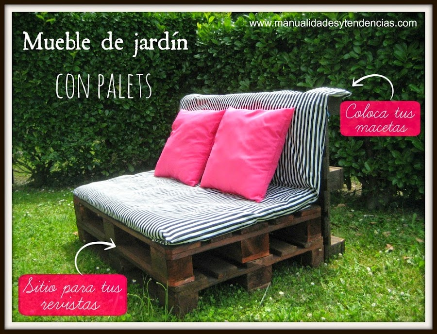 Mueble de jard n con palets pallets furniture for the garden for Jardin colgante con palets