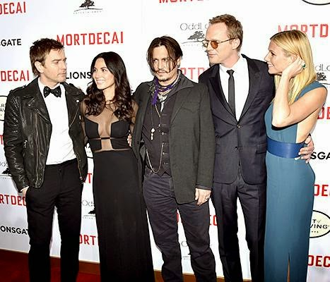 Mortdecai premier, Johnny Depp, Gwyneth Paltrow, Paul Bettany, and Ewan McGregor.