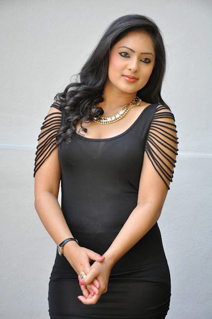 Actress Nikesha Patel Latest  Pictures in Black Short Dress 23.JPG