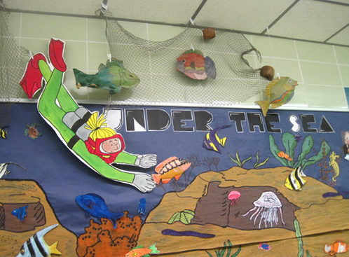 Ocean Bulletin Board with Scuba Diver