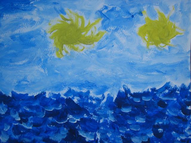 Pintura que muestra un paisaje marino con dos soles, por Emebezeta