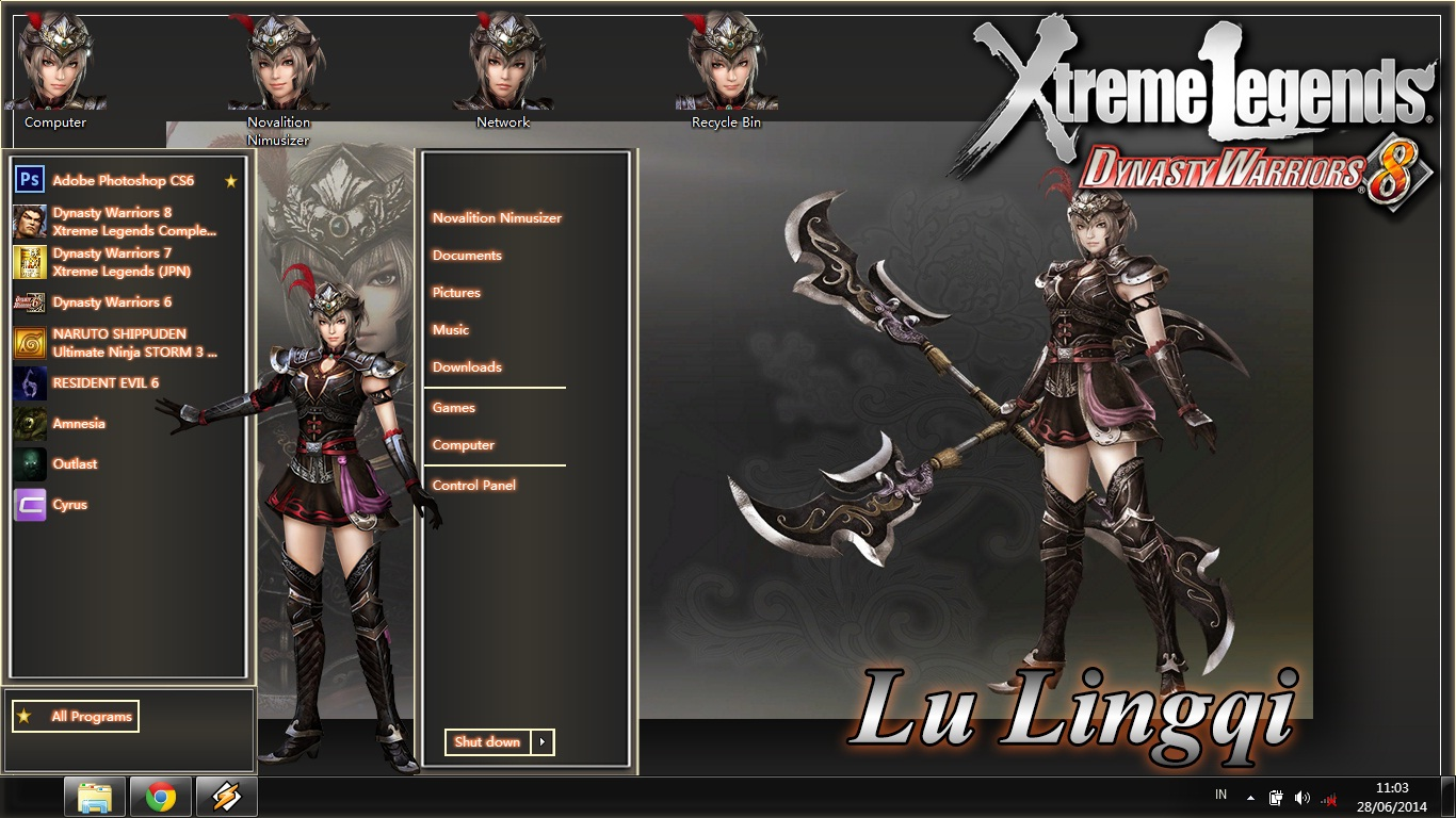 [Theme WIN 7] Dynasty Warriors 8 Xtreme Legends - Lu Lingqi by Novalition Image 1 - Suck-Style