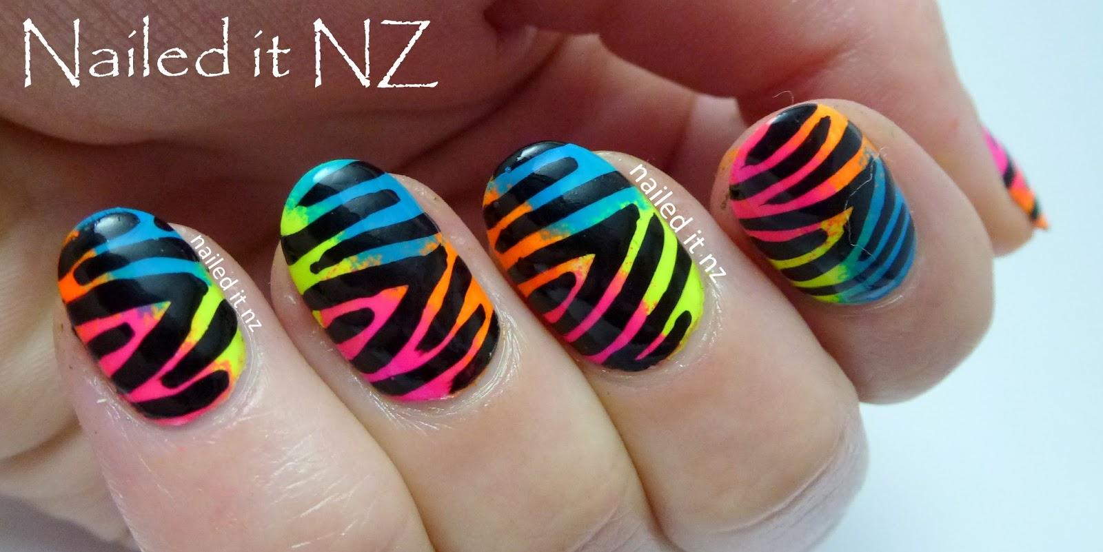 Neon Zebra print nail art tutorial - on YouTube!