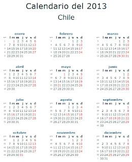 Calendario 2013 Chile feriados fiestas