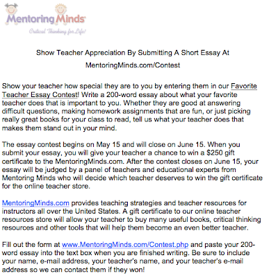 essay about teacher appreciation Teachers' day is a special day for the appreciation of teachers, and may include celebrations to honor them for their special contributions in a particular field area, or the community in general.