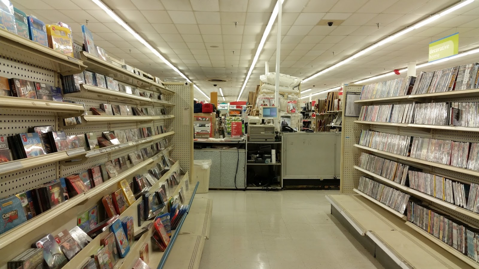 Here Is The First Aisle Of Music And Movies Which An Endangered Section In Kmart Stores