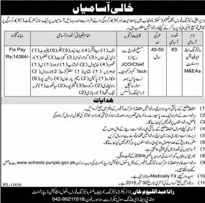 M&EAs Jobs in Punjab School Education Department