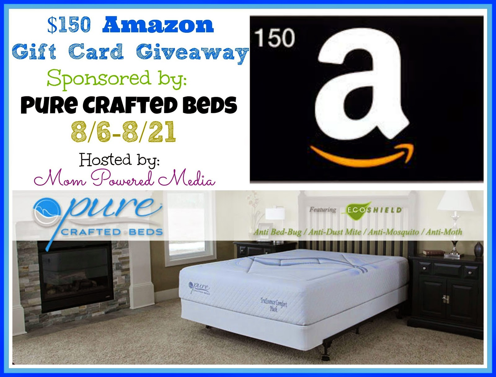 Enter to #win a $150 Amazon Gift Card from Pure Crafted Beds. Giveaway ends 8/21.