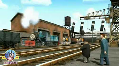 Thomas and his friends the Fat Controller at Brendam docks Bash Dash and Ferdinand the logging loco