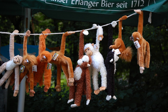 Monkey toys hanging from a wire