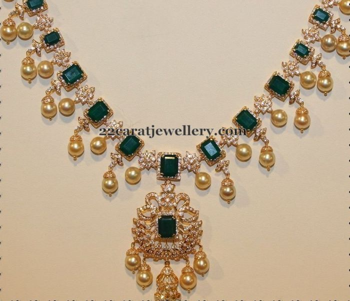 22ct Indian Gold Ruby Necklace Set 544 40: Emeralds And Diamonds Choker