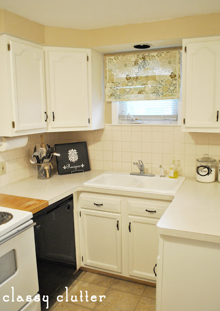 Painted cabinets and my kitchen makeover classy clutter for Behr white paint for kitchen cabinets