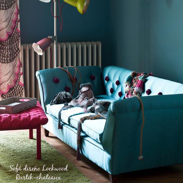 sofa de 2 plazas tapizado turquesa capitone