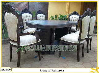 Meja dan Kursi Makan Kayu Jati Ukiran Ganesa Pandawa