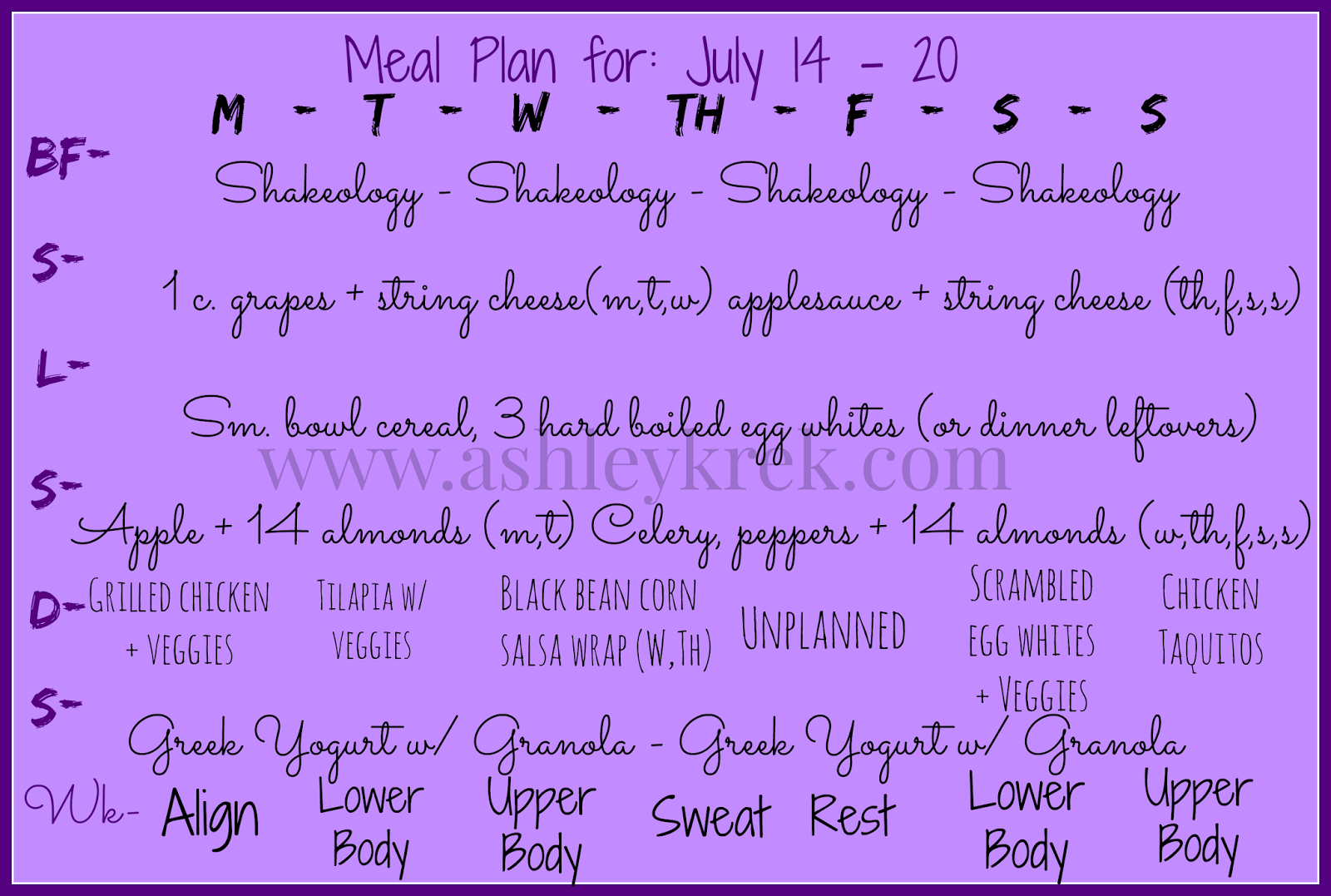 Piyo Week 1 Meal Plan and Pregnancy