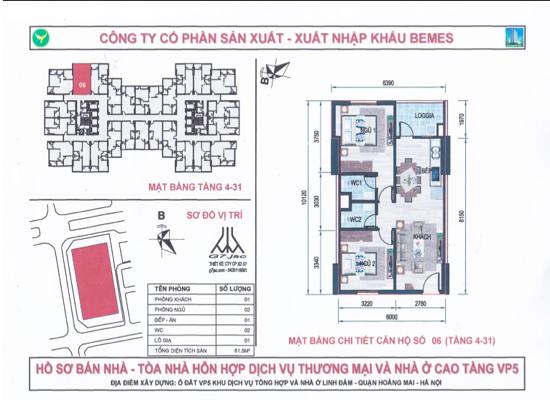 Chung cư VP5 Linh Đàm 61,5m2