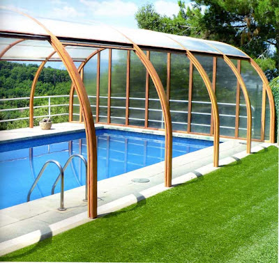 Decoraciones y modernidades modernas piscinas con techo for Techos para albercas